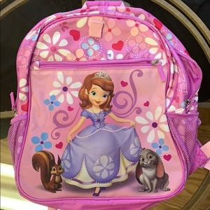 Sofia the first girls pink backpack